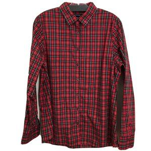 LANDS' END plaid cotton button up 14 tall AQ1